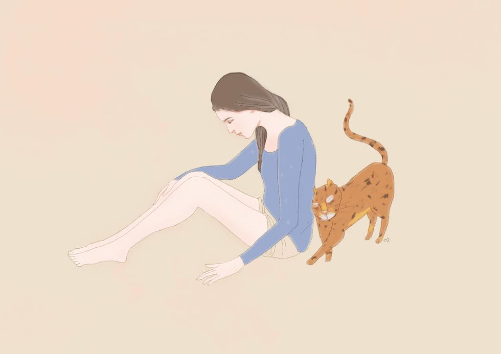 少女と猫 イラスト/やまぎわようこ