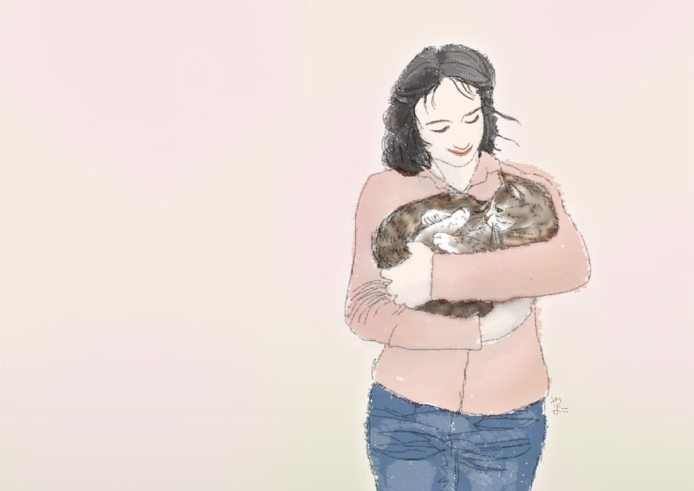 猫を抱く(やまぎわようこのイラスト)