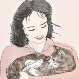 猫を抱く春の日